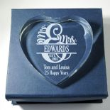 Wedding or Anniversary Paperweight, PERSONALISED, ref WPW1